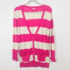 Halogen Cardigan Pink Stripe Small